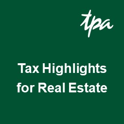 Tax Highlights for Real Estate – January 2019