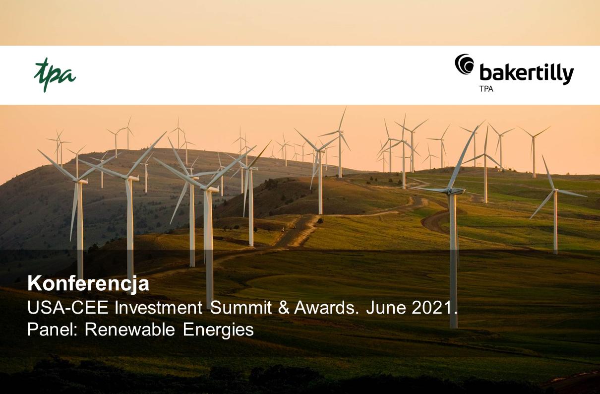 USA-CEE Investment Summit & Awards. June 2021. Panel: Renewable Energies